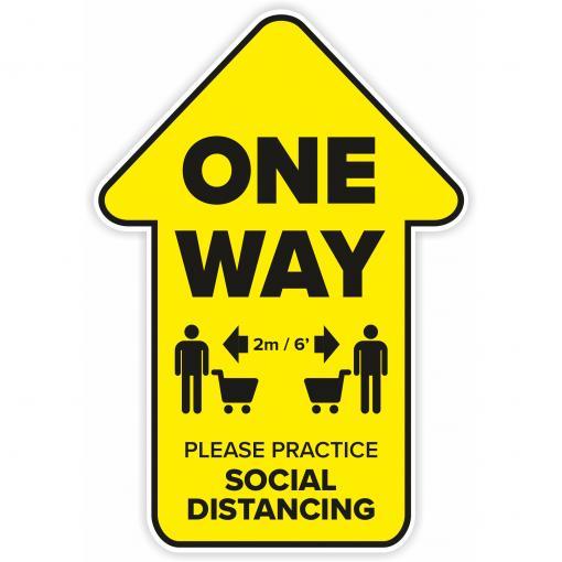 Safe Shop Social Distancing One Way Arrow Decal