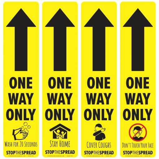 Safe Shop Social Distancing One Way Arrow Decals