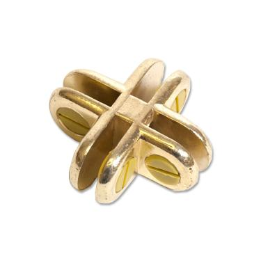 4 Way Glass Cube Panel Connector | Brass