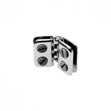 Hinged Glass Cube Panel Connector | Chrome