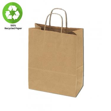 "100% Recycled Kraft Bags 100pc Box | 16"" x 6"" x 13"""