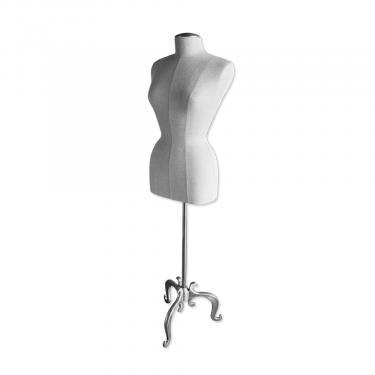Female Linen Dress Form with Brushed Metal Base