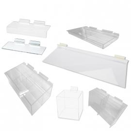 Slatwall Acrylic Shelves, Trays and Bins